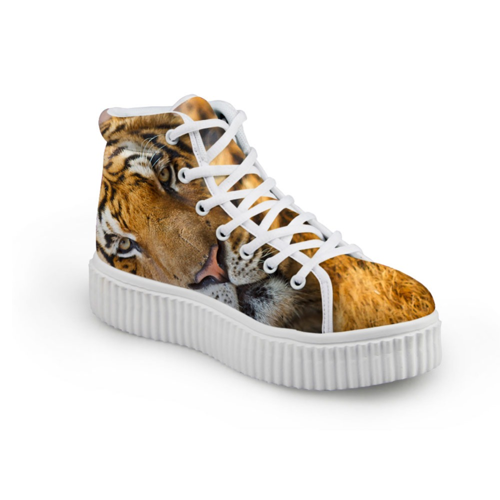Cool High Top Men Casual Shoes Black Printing Tiger Lion