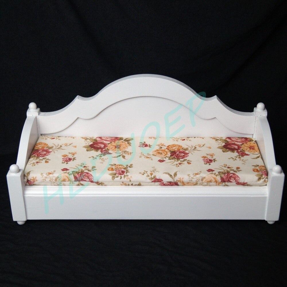 BJD Mini meubles blanc bois lit chaise de couchage canapé pour 1/6 11