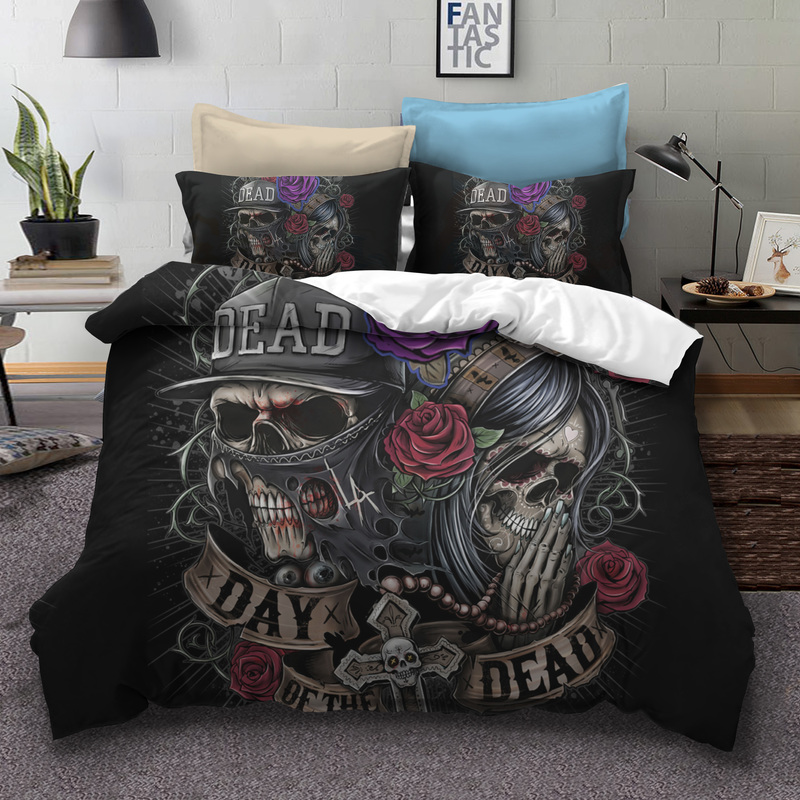 Fanaijia fiore Del Cranio dello zucchero Set di Biancheria Da Letto queen size 3D cranio morto Duvet Cover set Letto bedline AU formato DEGLI STATI UNITI bedline