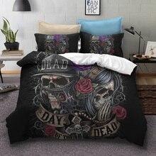 Fanaijia цветок сахара череп постельного белья queen size 3D Мертвых Череп постельное белье кровать bedline AU американский размер bedline