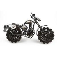 Creative Hand Soldering Wrought Iron Motorcycle Model Bronze Tone Metal Moto Collection Simple Modern Home Decor Ornaments