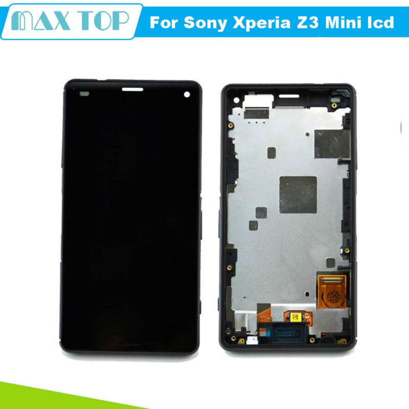 ФОТО New Black LCD For Sony Xperia Z3 Mini Compact D5803 D5833 LCD Display touch screen with digitizer + Bezel Frame