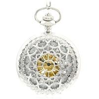 WOONUN Luxury Brand Pocket Watch Fashion Silver Skeleton Mechanical Hand Wind Pocket Watches Men Women Chain Necklace Fob Watch