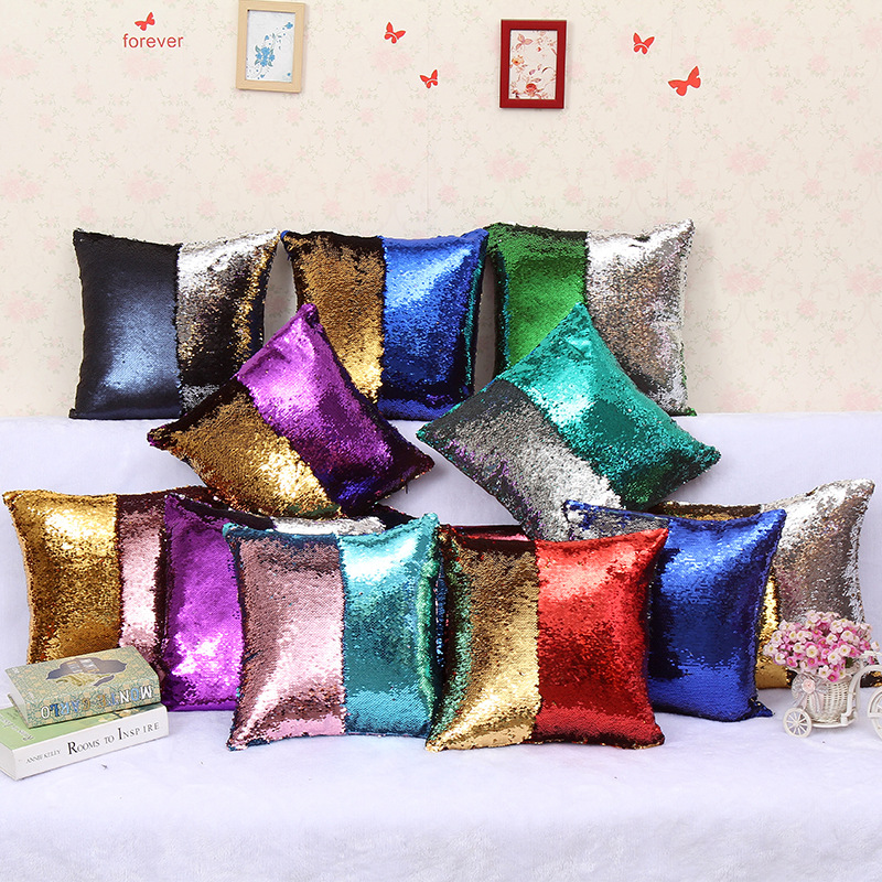 INS hot mermaid two-color sequin pillow cute comfortable personality pillow to add color to life