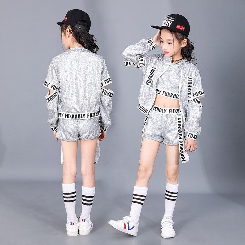 Silver Sparkly children Jazz Modern stage dance wear Girls boy Jazz Sequins alphabet band hip hop Street Dance costume for kid