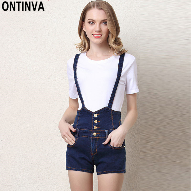Women Summer Overalls Shorts Breathable High Waist Pocket Short Pants With Belt