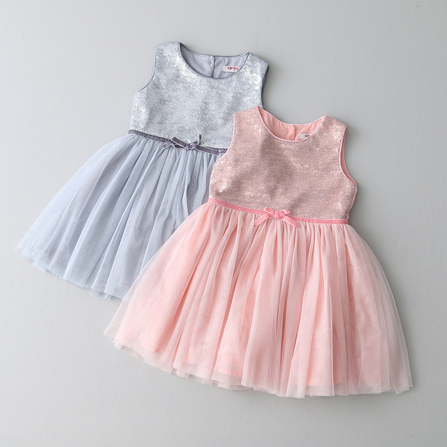 Girls Tutu Sequins Party Dress Ruffles Spring Summer Sleeveless Bows Dress Princess Brand Dresses