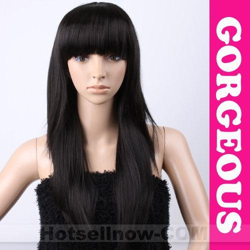[STOCK IN UK, UK LOCAL FAST SHIP] Womens Fashion Cosplay Party Black Ladies Straight Wig