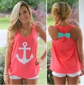 Summer Style Women Tank Tops O Neck Sleeveless Sexy Tops Back Bow  T Shirt Women Four Colours Camiseta Feminina Casual Top