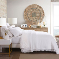 CHAUSUB Embroidery Quilt Set Cotton Bedspread 3pcs Quality Korea Lace Quilts Quilted Bed Cover Pillowcase King Size Coverlet