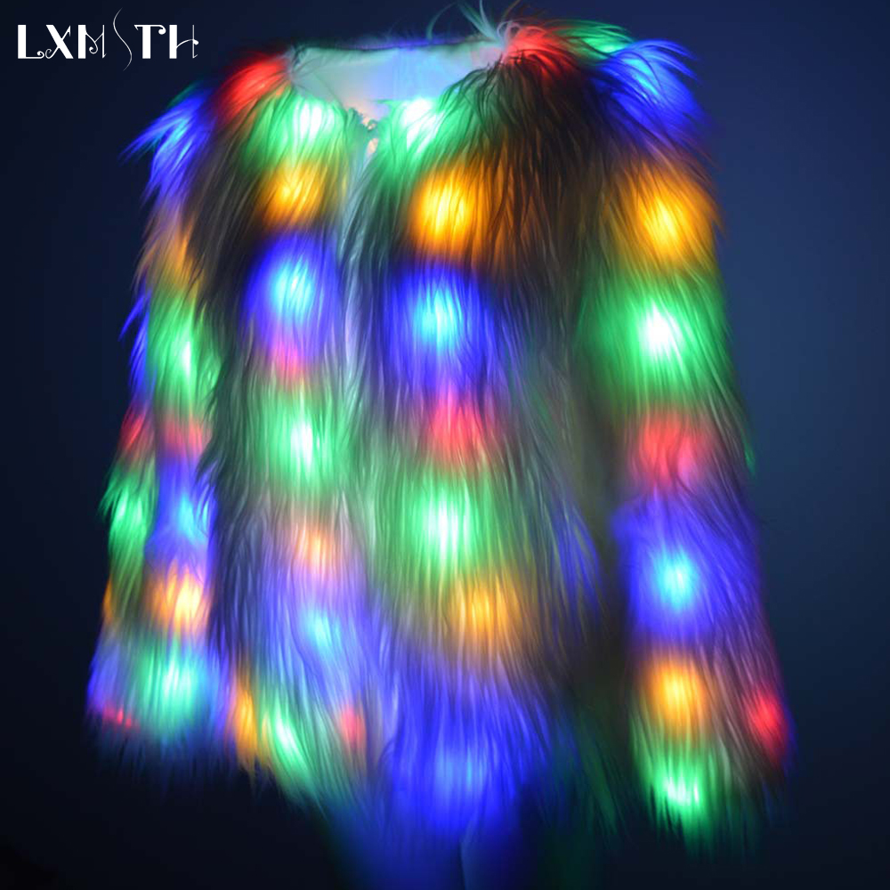 LXMSTH 6XL LED Light Faux Fur Coat Women Winter Warm Party Club Hip Pop Cosplay Jacket Christmas Costumes Festival Outwear Loose
