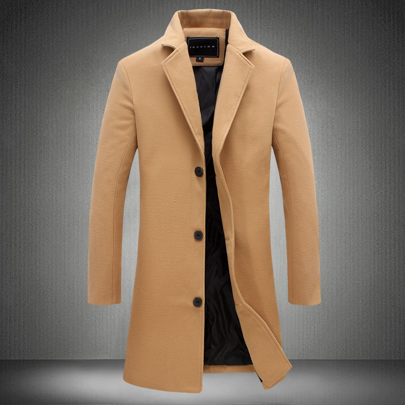 2019 Autumn and Winter New Mens Solid Color Casual Business Woolen Coats / Mens High-end Brand Slim Long Woolen Coat Male Jacket(China)
