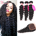 Deep Wave Malaysian Hair With Closure And Bundles Malaysian Deep Wave With Closure 3 Bundles Malaysian Deep Curly With Closure