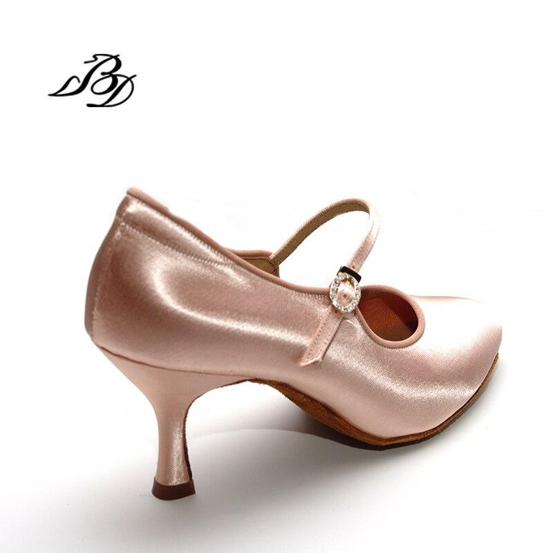 Adulte Sneakers Chaussures De Danse Moderne Marque Carré BD137 Partie Salle De Bal Latine Chaussures Femmes Satin Diamants Doux base de Peau de Vache CHAUDE - 3