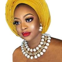 4UJewelry Godki Luxury Women Jewelry Set White and Gold Acrylic African Necklace Statement 3 Layers Jewellery Set Dubai Fashion