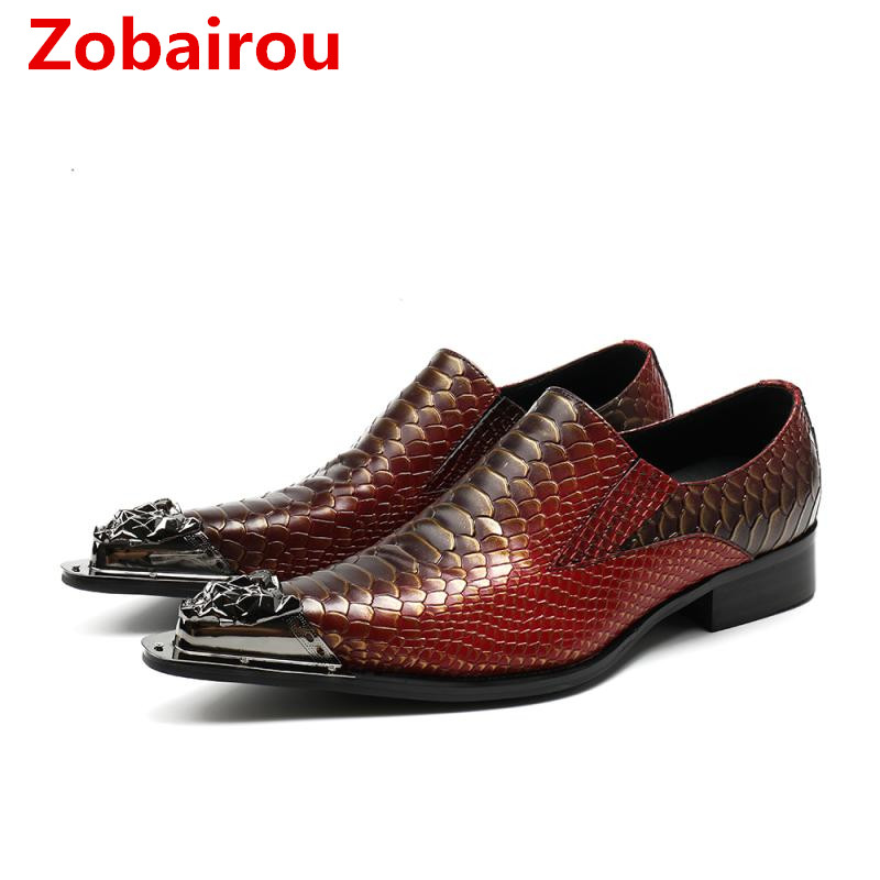Shoes Men's Shoes Devoted Zobairou 2018 Italian Shoes Men Leather Purple Brown Colors High Heels Oxfords Snake Skin Pointed Toe Burgundy Dress Loafers Cleaning The Oral Cavity.