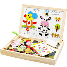 Montessori education wooden puzzle animal paradise fight fight double-sided wooden drawing board children's educational toys
