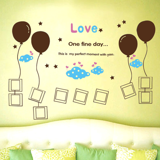 Love Airbollon English Letters Wall Sticker Decal Home Paper Art ...