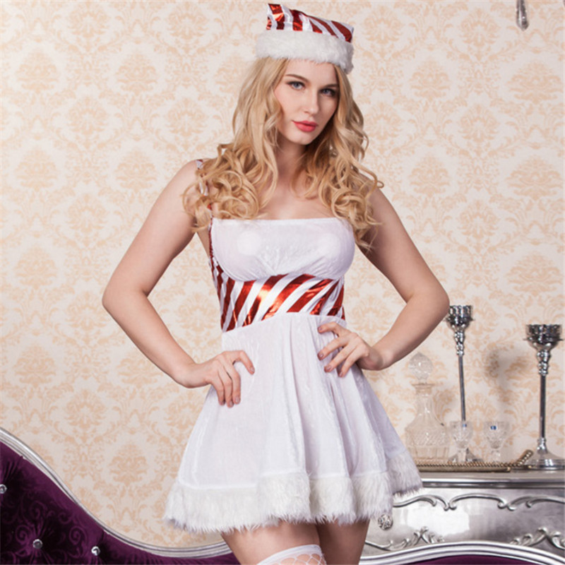 2018 New high quality Fashion Sexy White and Red Strips Santa Costume Christmas Costume for Women Sexy Snowman Mini Dress