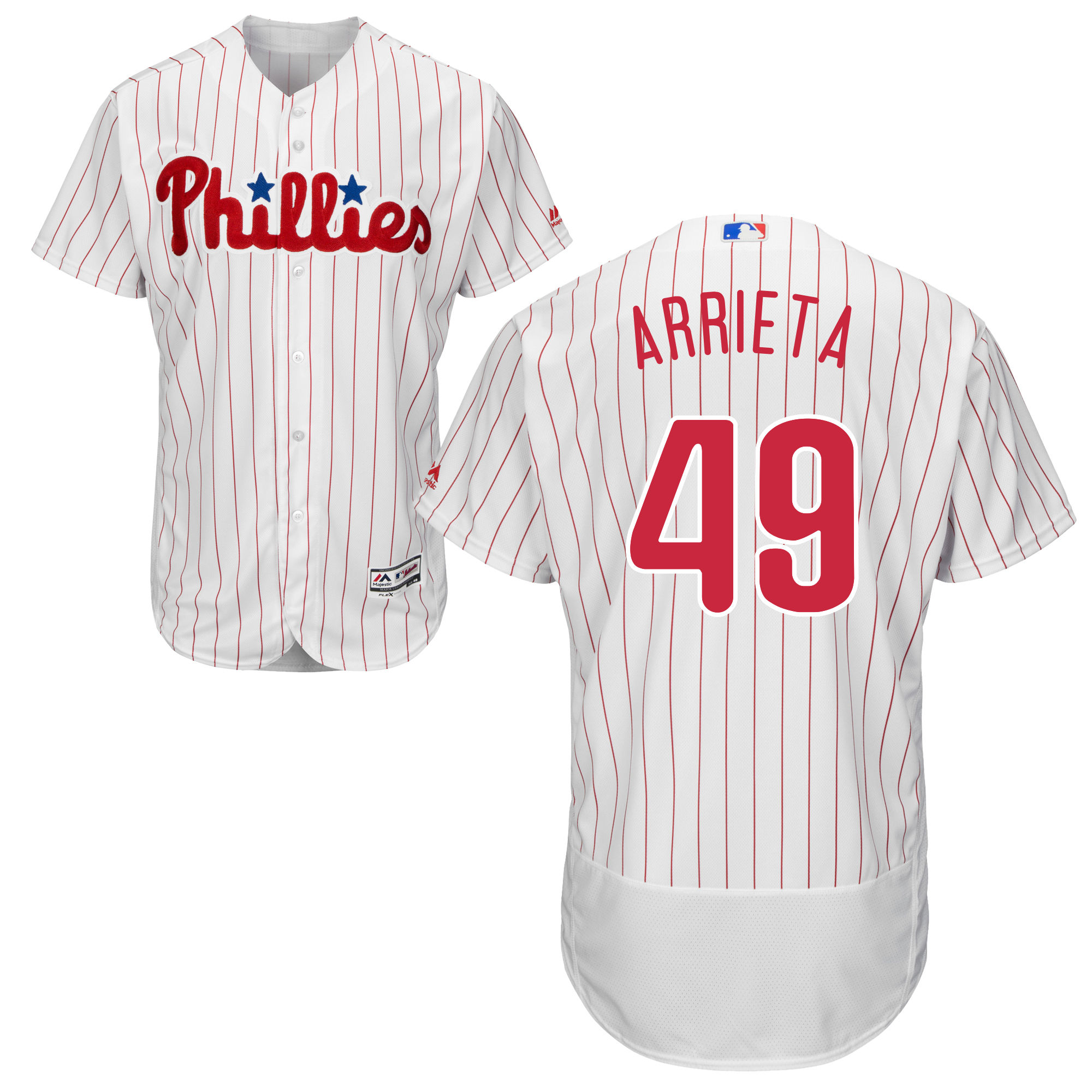 MLB Mens Philadelphia Phillies Jake Arrieta Baseball Home Flex Base Authentic Collection Player Jersey