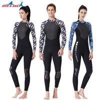 One piece Men Women Wetsuit UPF50+ 3mm Shark Skin+Lycra Full Body Back Zipper Swimming Diving Suits High Elastic Swimwear