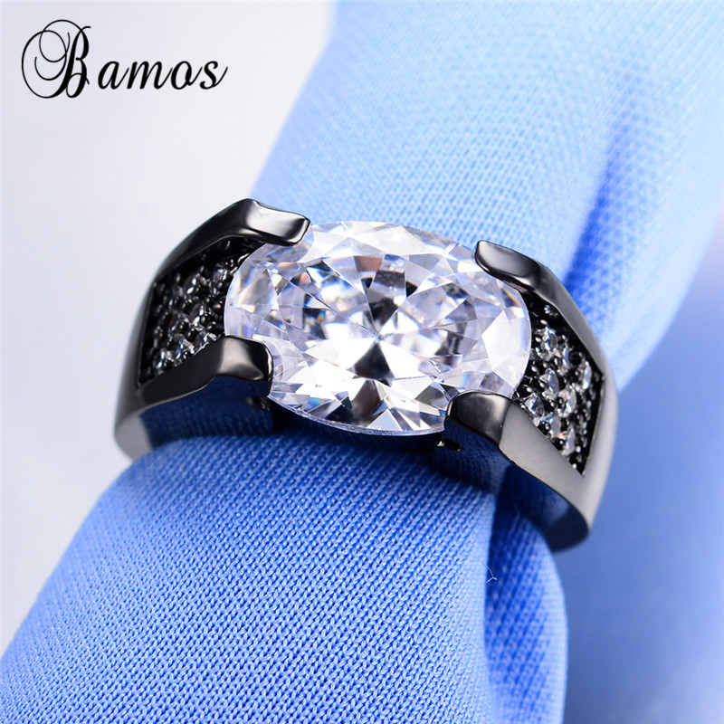 Bamos Mystic Bunte Große Oval Grün/Blau AAA Zirkon Birthstone Ringe Für Frauen Schwarz Gold Gefüllt Hochzeit Ring Weihnachten geschenke