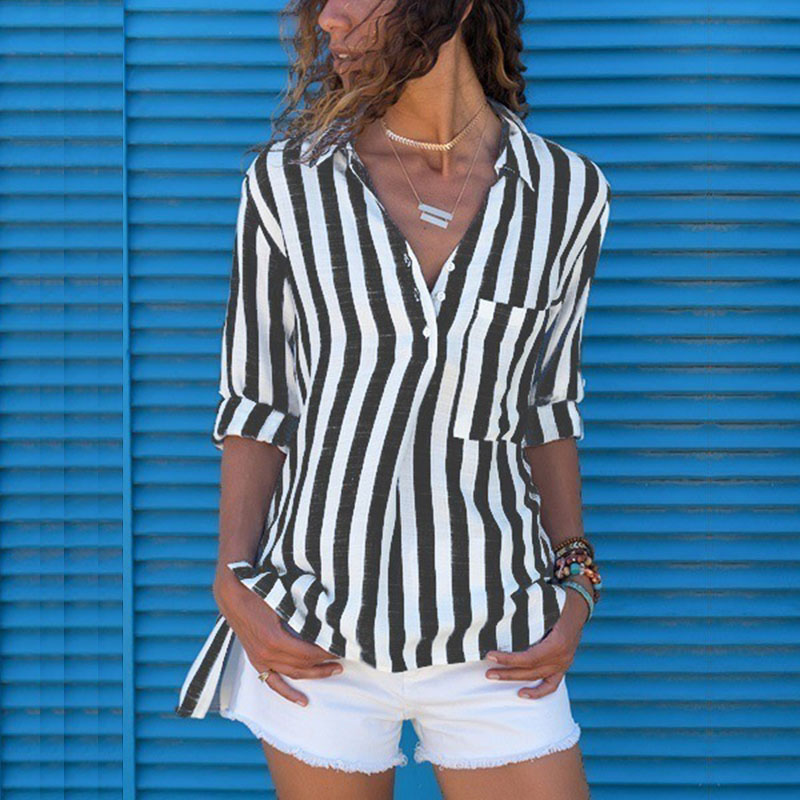 Striped Blouse Shirt Women 5XL Long Sleeve Fashion Woman Blouses 2020 Spring Womens Tops and Blouses Plus Size Top Female Shirt