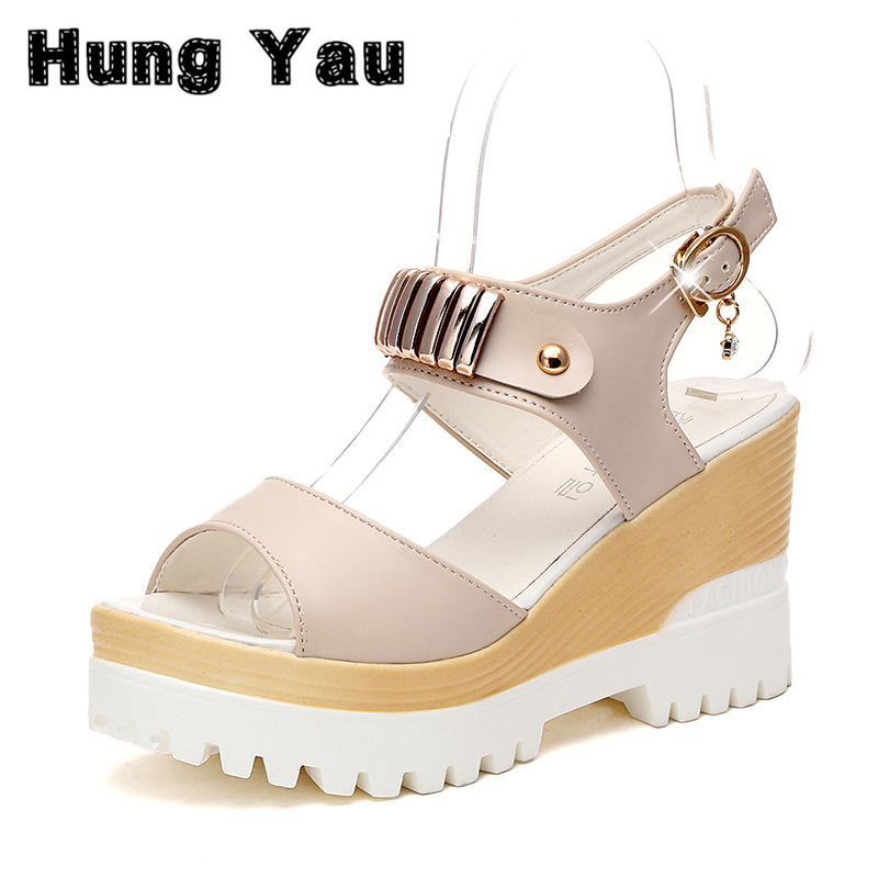 Women Platform Sandals Open Peep Toe Women Gladiator Sandals Fashion Creepers Wedge Simple Shoes Woman Size US 8 Summer Style timetang 2017 leather gladiator sandals comfort creepers platform casual shoes woman summer style mother women shoes xwd5583