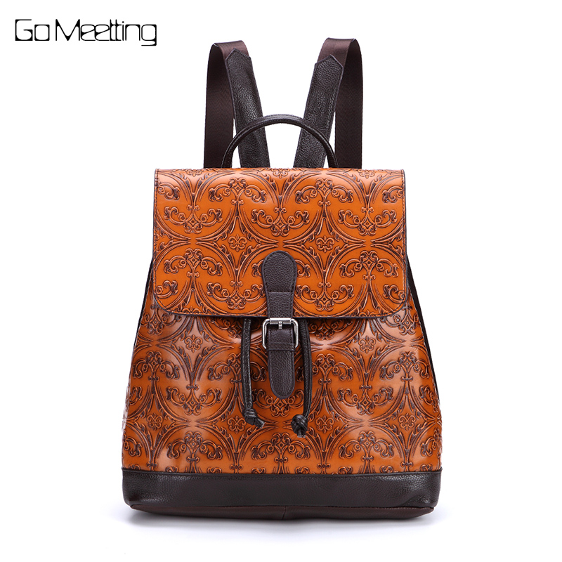 New 2017 Genuine Leather Women Backpack Vintage Emboss Cow Leather Ladies School Bag High quality Retro Bag Travel Backpacks high quality genuine leather women backpacks female embossed flower backpack school bag vintage coffee ladies travel bags l0244