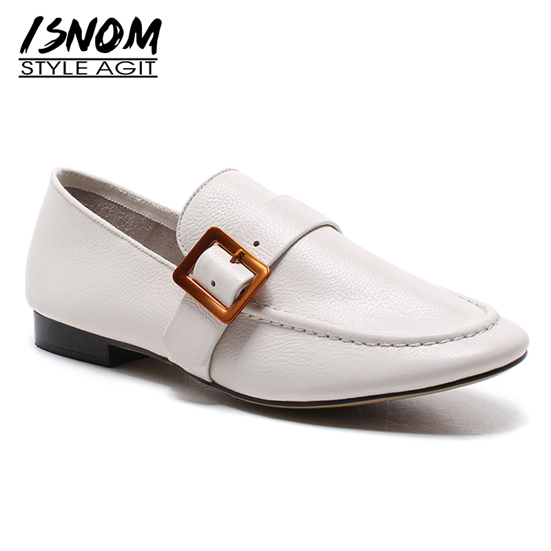 1c7525352a1 De Moda Isnom Primavera Pie Casuales Dedo Negro Cuadrado Del Sandalias Zapatos  Calzado 2019 Planos apricot blanco Genuino Mujer Mujeres Las Mocasines  Cuero ...
