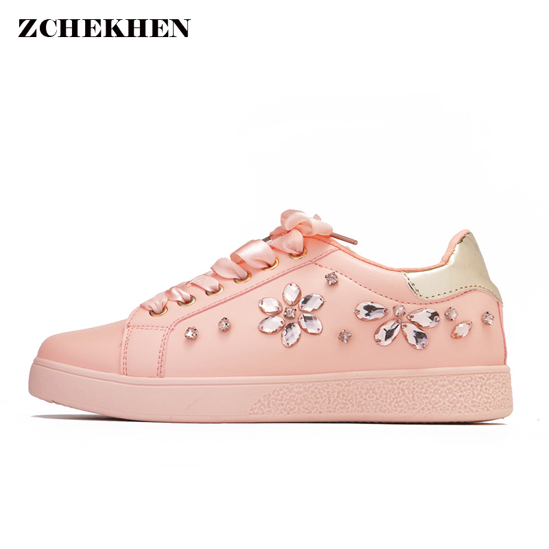 2018 Women sneakers Pearl Espadrille Soft Leather Rhinestone Women Flat  Shoes Loafers pink Shoes Party Shoes Brand Design-in Women s Vulcanize Shoes  from ... 176518241964