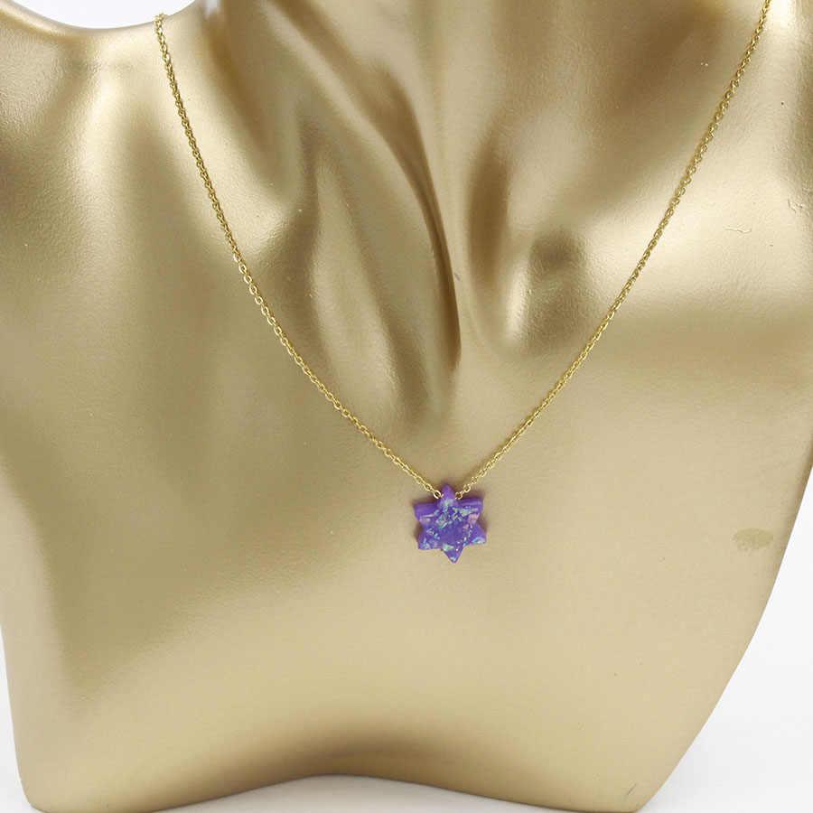 Fnixtar ze stali nierdzewnej złoty kolor biżuteria żydowska gwiazda dawida naszyjnik z opalem naszyjnik dla kobiet mężczyzn 45 cm + 5 cm extender2Piece/lot