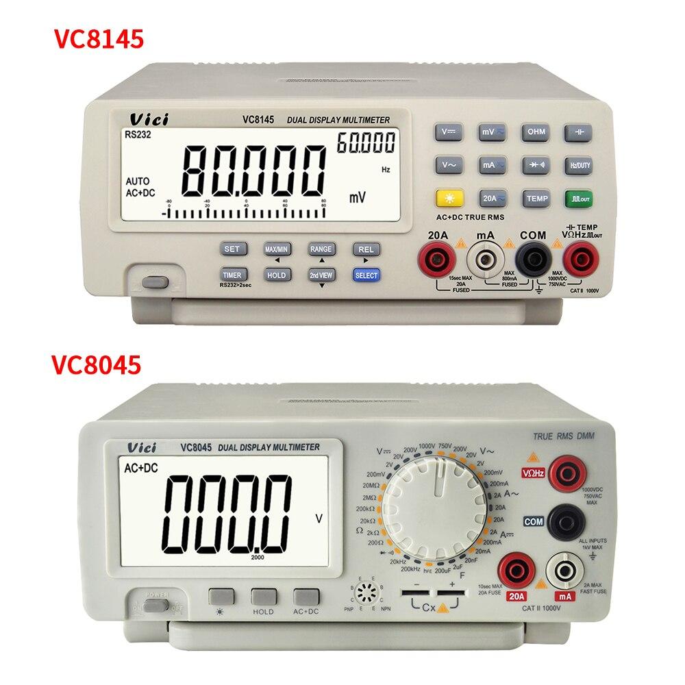 VC8145 VC8045 bancada Multímetro Digital Auto Faixa Multímetro 1000 V 20A Multimetro Digitais Voltímetro Ohm DCV/ACV/ DCA/ACA