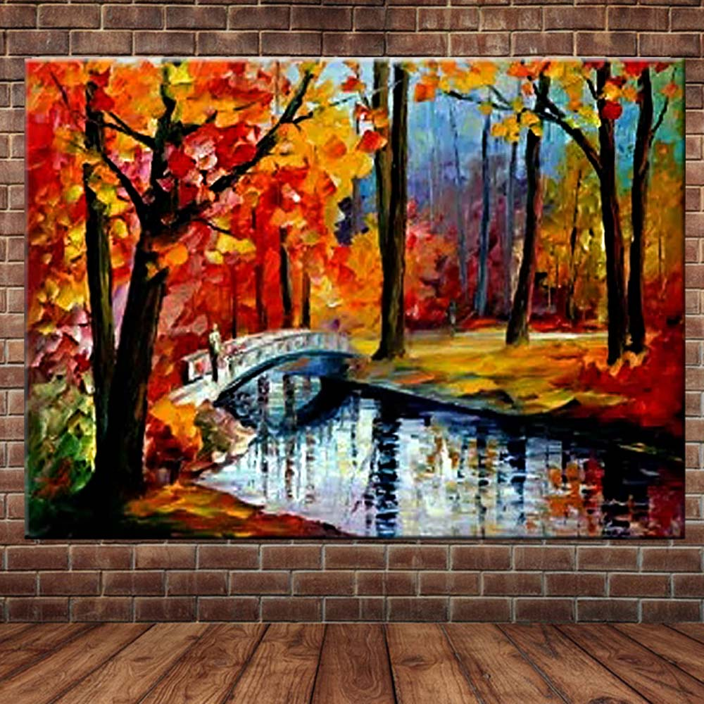 Hand Painted Abstract Art Palette Knife Color Tree River Landscape Canvas Oil Painting Wall Picture Living Room Home Wall Decor