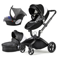 Hot Mom stroller stroller high landscape can sit or lie pneumatic wheels portable baby stroller trolley with car seat