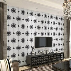 Modern Non Woven Circle Round Dot Pattern White And Black Wallpaper Roll For Living