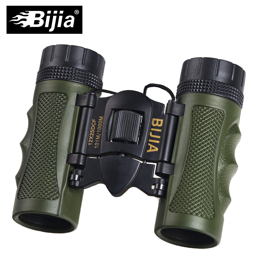 BIJIA 12x25 Mini Outdoor Folding Telescope BAK4 FMC Porfessional Hunting Optics Binoculars