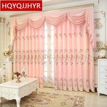 Europa luxo Cortinas para Sala villa High-end rosa bordado cortina de Pano para Cozinha Quarto/Janela Do Hotel cortinas