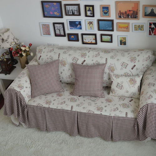 Pastoral Style Coffee Floral Stitching Plaid Decorative Sofa Cover