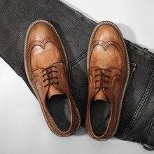 Корова Коричневый Формальные Ботинки-броги ручной работы из натуральной кожи Туфли без каблуков мужская деловая обувь Британский Стиль мужские из натуральной кожи брюки-карго обувь