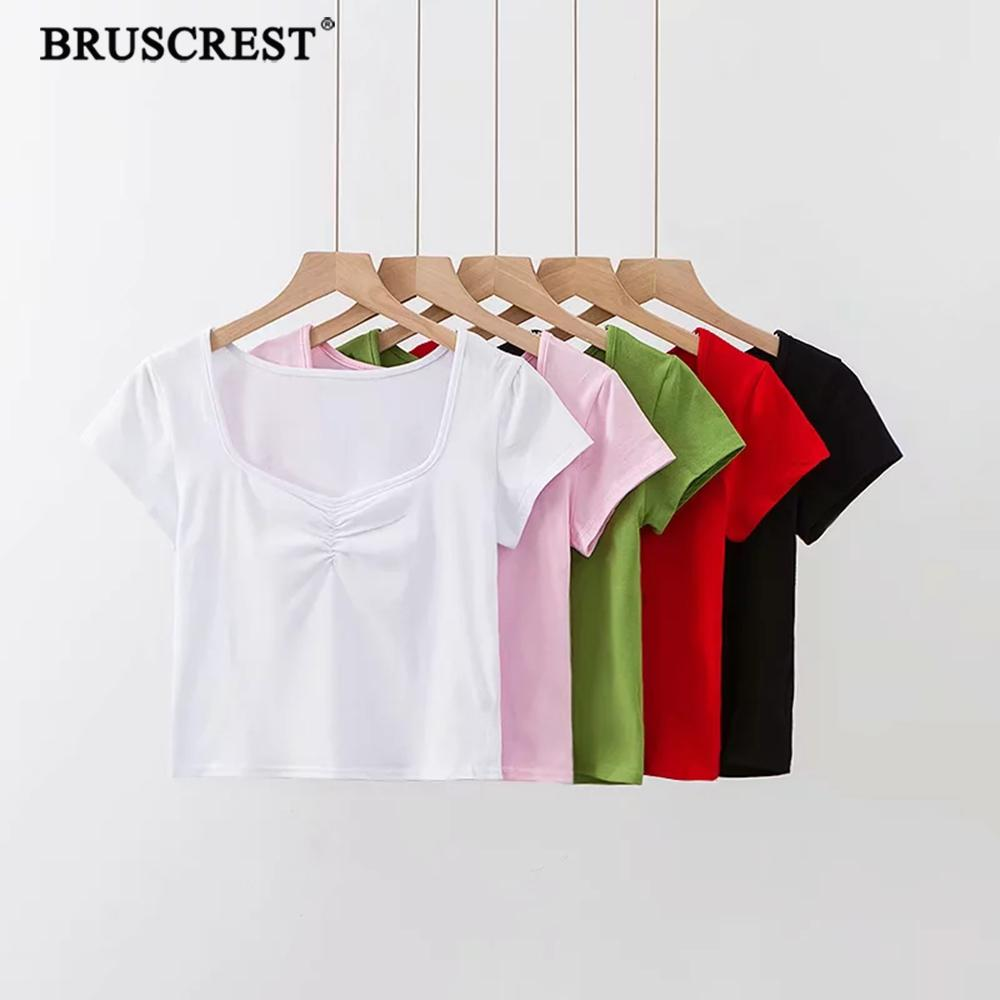 Винтажная футболка с квадратным воротником, Женская Повседневная белая футболка с коротким рукавом в Корейском стиле, 2019