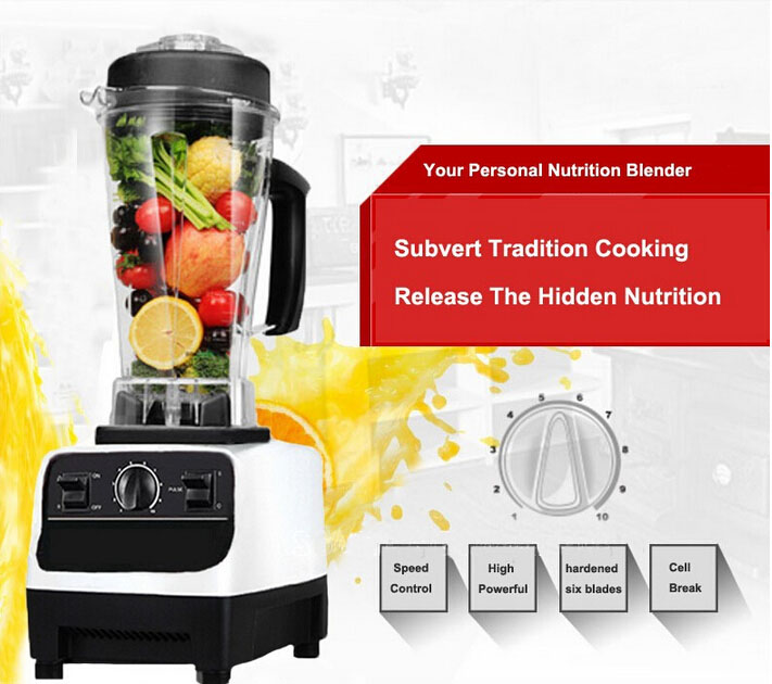 Heavy Duty Commercial Blender Mixer Juicer BPA Free 3HP 2200W High Power Food Processor Ice Smoothie Bar Fruit Electric Blender