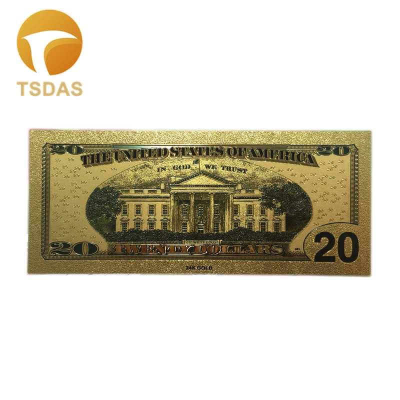10Pcs Set 24K Gold Plated Foil Banknotes Paper Money The United States America Gold Foil Banknote 20 Dollars Collection in Gold Banknotes from Home Garden