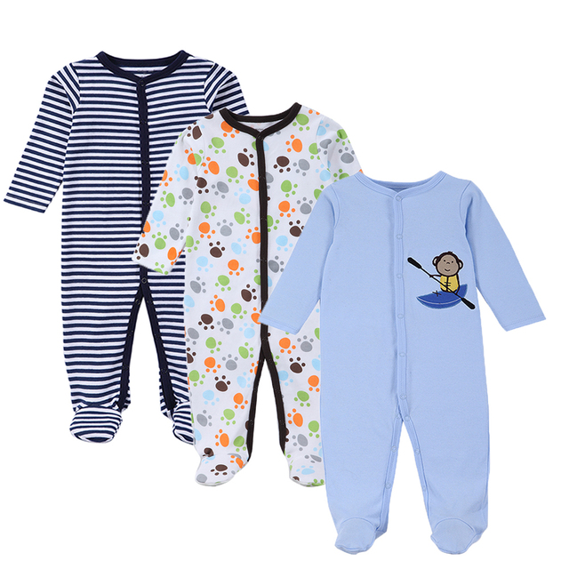 2018 New 3-Pack Snap-Up Cotton Sleep   Play Jumpsuit Baby Clothes Cartoon  Unisex Newborn Girl Boy Onesie Coverall 0-12 Months f45d35e94