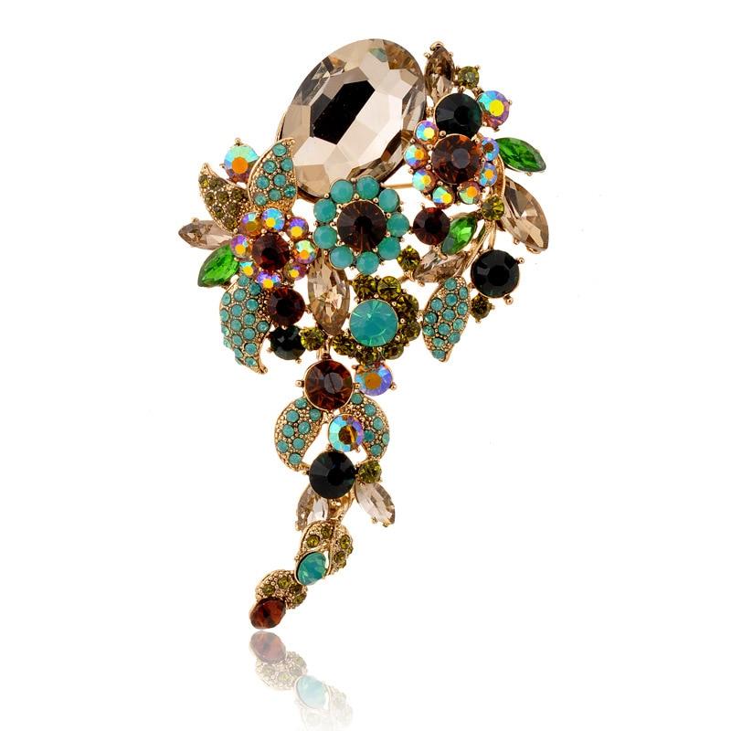 New Coming Elegant Green Rhinestone Crystal Flower Brooch Pin Romantic Wedding Bride Bridesmaid Rhinestone Jewelry