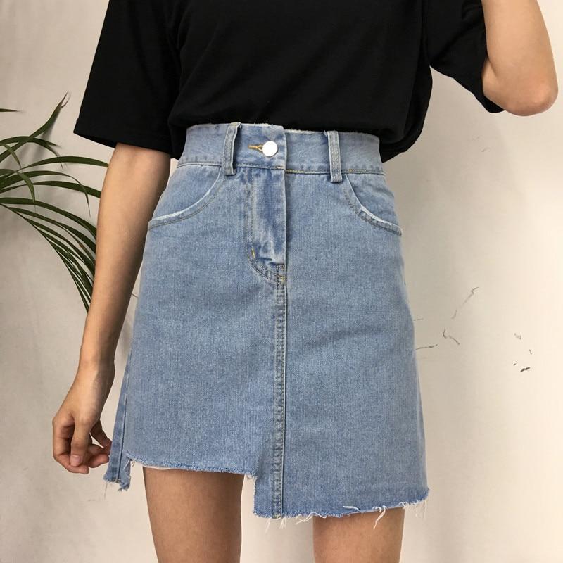 d204c387f04 Kpop Harajuku 2018 New All-matched Casual Jeans Skirt Summer Fashion High  Waist Skirts Womens Pockets Button Denim Skirt Female | My Shop Name