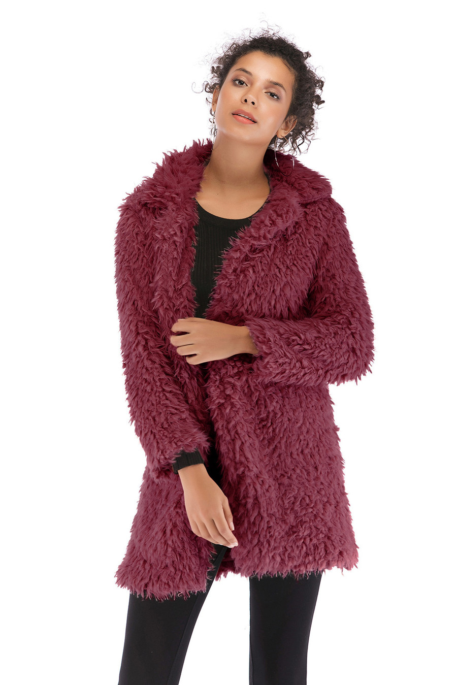 Gladiolus 2018 Women Autumn Winter Coat Turn-Down Collar Long Sleeve Covered Button Long Warm Shaggy Faux Fur Coat Women Jackets (14)