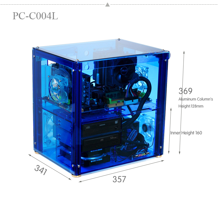 QDIY PC-C004L can Install 320mm Graphics Card Transparent Chassis Acrylic Personalized Water Cooled Computer Case qdiy fz tm80c personalized computer case 80mm matte transparent colored lamp cooling fan