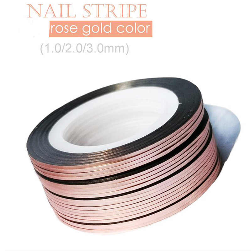 10Rolls 1mm/2mm/3mm Glitter Striping Tape Rose Gold Self-Adhesive DIY Nail Art Tape Line Strips Striping For UV Gel Polish NSL03