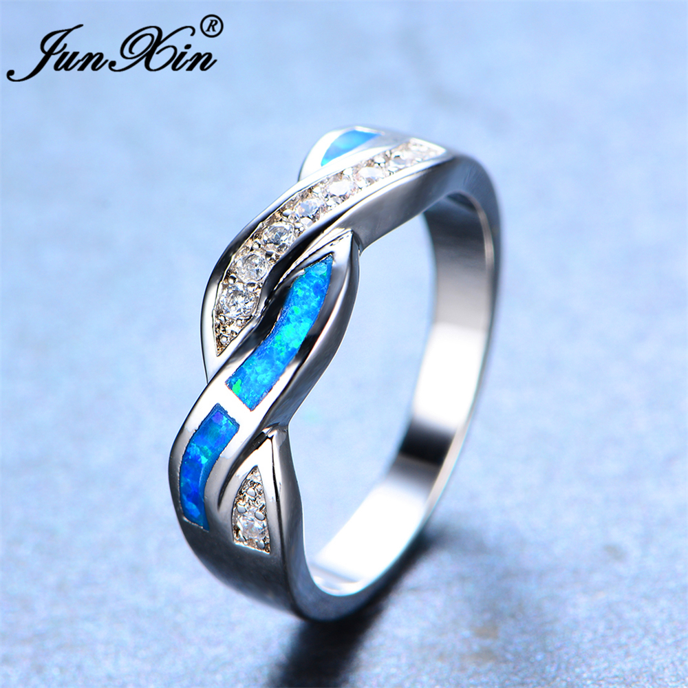 junxin brand women blue fire opal ring high quality 925 sterling silver filled fashion jewelry vintage wedding rings for women